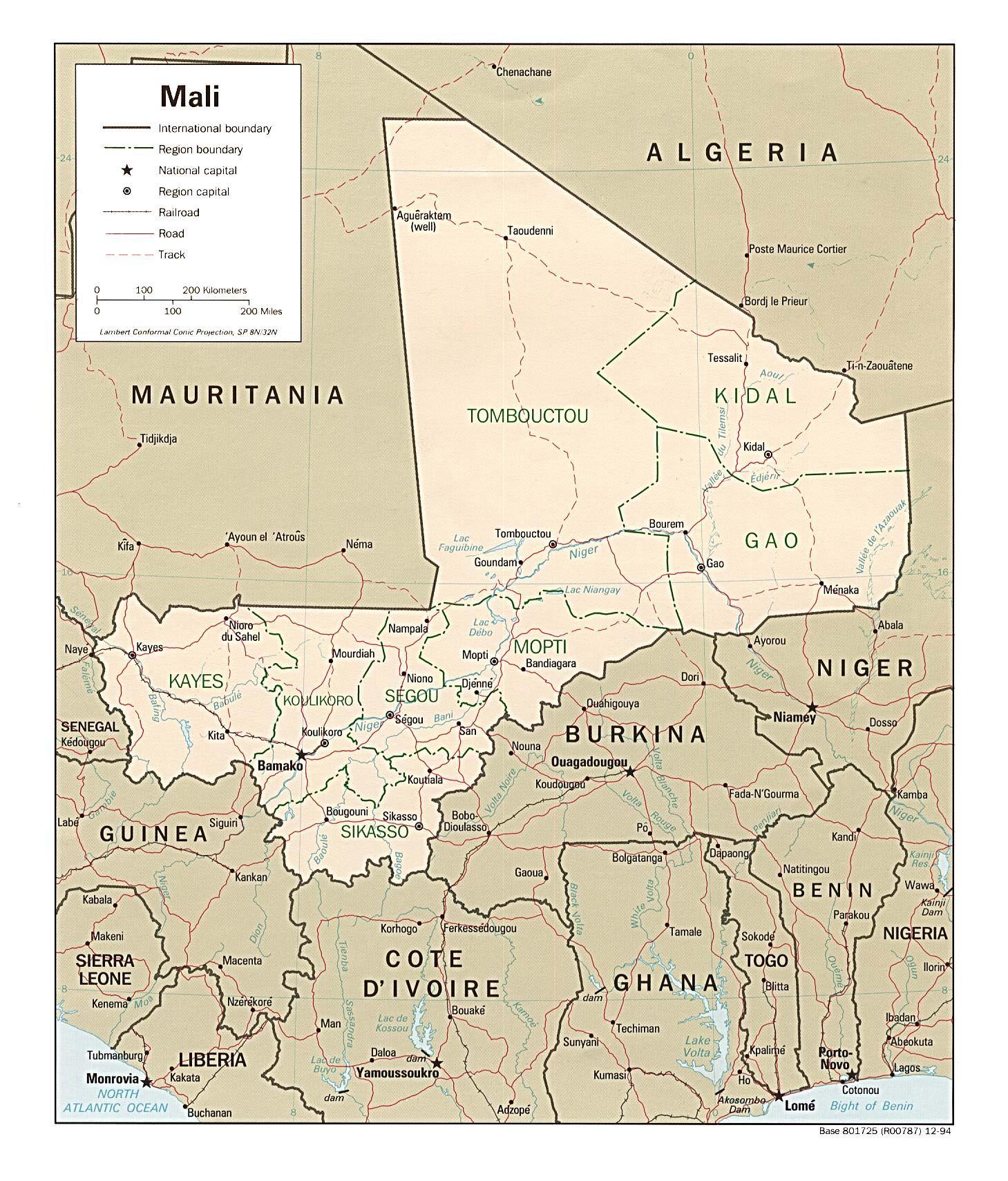 Mali Land Karta Karta Over Mali Land Vastra Afrika Afrika