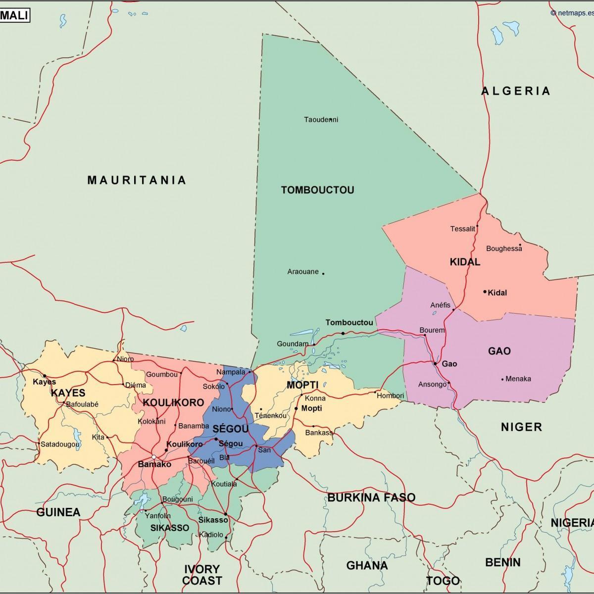 Politisk Karta Over Mali Karta Av Politiska Mali I Vastra Afrika